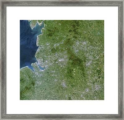 Greater Manchester, Satellite Image Framed Print by Planetobserver