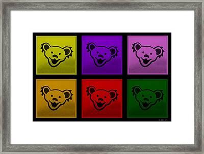 Greatful Dead Dancing Bears In Multi Colors Framed Print