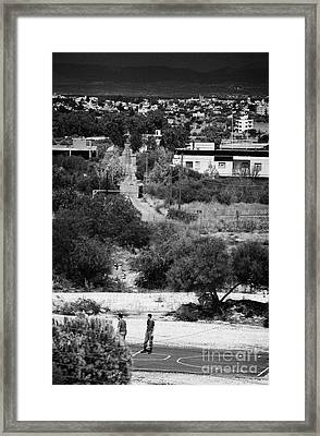 greek and turkish cypriot military border posts either side of the UN buffer zone in cyprus Framed Print by Joe Fox
