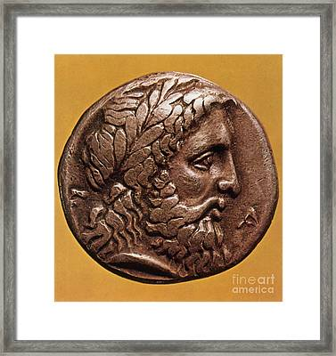Greek Coin With Zeus Framed Print
