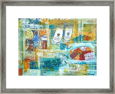 Greek Collage - Ouzo And Meze Framed Print by Jackie Sherwood