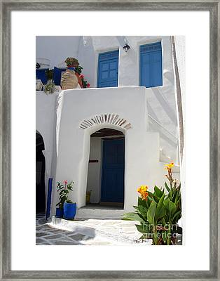 Greek Doorway Framed Print by Jane Rix