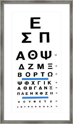 Greek Eye Chart Framed Print