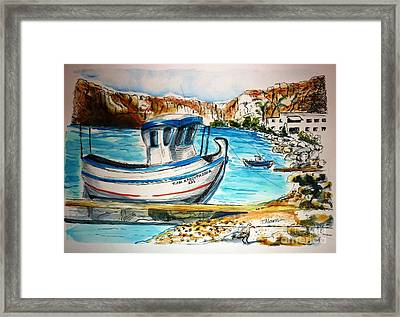 Framed Print featuring the painting Greek Fishing Boat by Therese Alcorn
