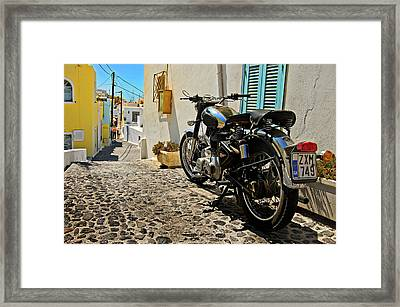 Greek Island Royal Enfield Framed Print