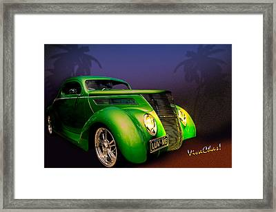 Green 37 Ford Hot Rod Decked Out For A Tropical Saint Patrick Day In South Texas Framed Print by Chas Sinklier