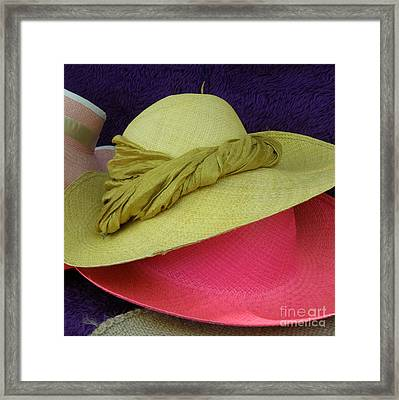 Green And Pink Hats Framed Print by Lainie Wrightson