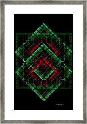 Green And Red Geometric Design Framed Print by Mario Perez