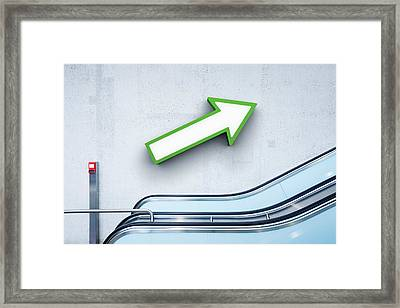 Green Arrow And Escalator Framed Print