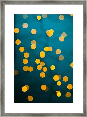 Green Background With Gold Dots  Framed Print