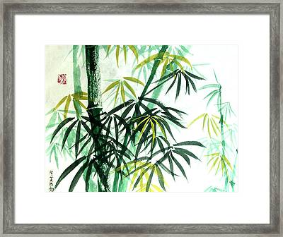 Framed Print featuring the painting Green Bamboo by Alethea McKee