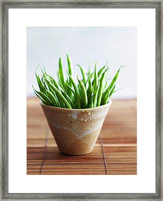 Green Beans In Pot On Bamboo Surface Framed Print