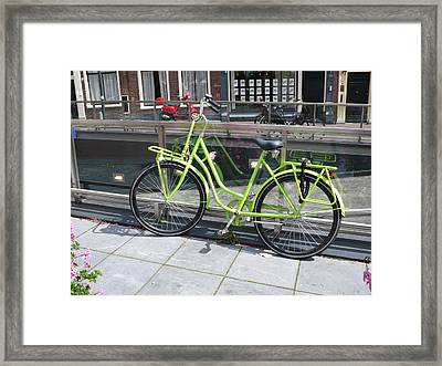 Green Bike Haarlem Holland Framed Print by Gregory Smith