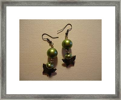 Green Butterfly Earrings Framed Print by Jenna Green