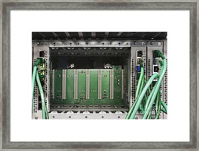Green Cables And Computer Server Framed Print by Jetta Productions, Inc