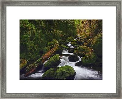 Green Canyon Cascades Framed Print by Diane Kurtz