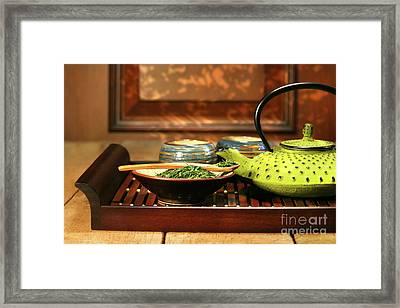 Green Cast Iron Teapot Framed Print by Sandra Cunningham