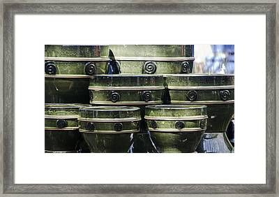Green Circle Border Planters Framed Print by Teresa Mucha