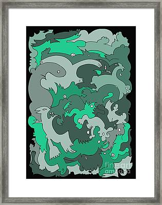 Green Creatures Framed Print by Barbara Marcus
