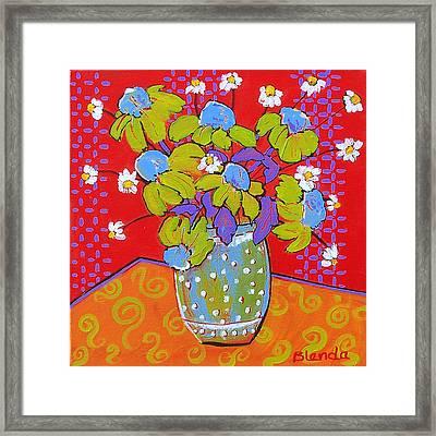 Green Daisy Bouquet Framed Print by Blenda Studio