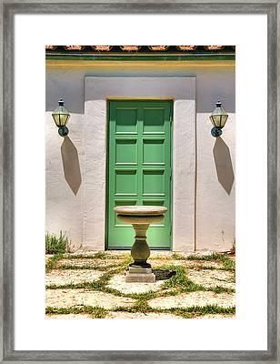 Green Door And Birdbath Framed Print