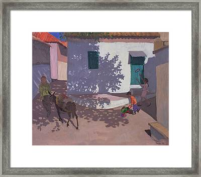 Green Door And Shadows Lesbos Framed Print by Andrew Macara