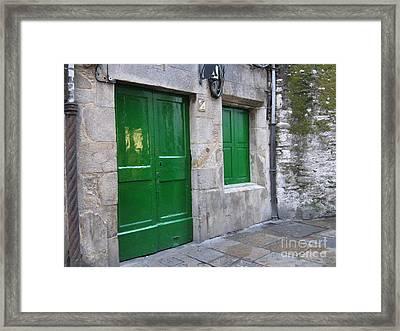 Framed Print featuring the photograph Green Door by Arlene Carmel