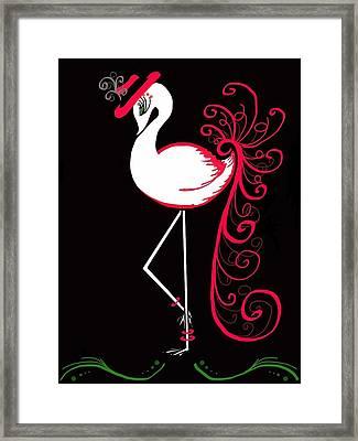 Green Eyed Flamingo Framed Print by Celestina Quick