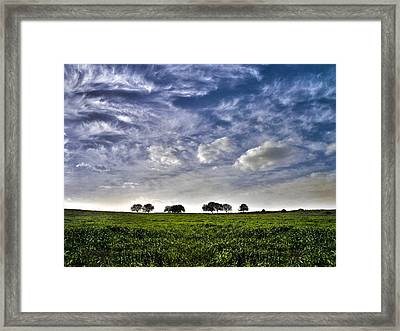 Green Fields And Blue Sky Framed Print