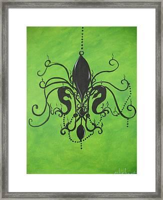 Green Fleur De Chandelier Framed Print by Marian Hebert