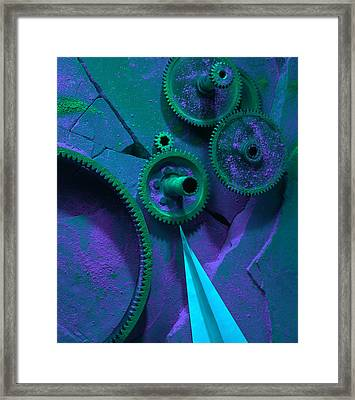 Green Gears Framed Print by Ron Schwager