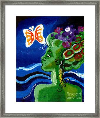 Green Girl With Butterfly Framed Print by Genevieve Esson