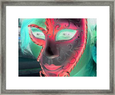 Green Girl With Red Mask Framed Print