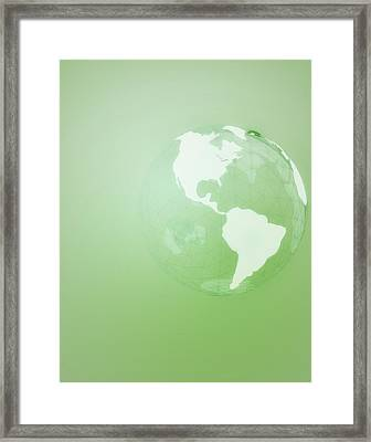 Green Globe Of The Americas Framed Print by Jason Reed