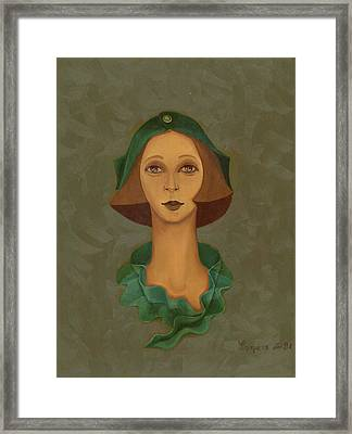 Green Hat Carre Woman Face  Framed Print by Rachel Hershkovitz
