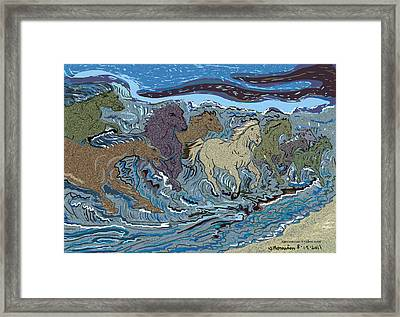 Green Horse Wave Framed Print by Susie Morrison