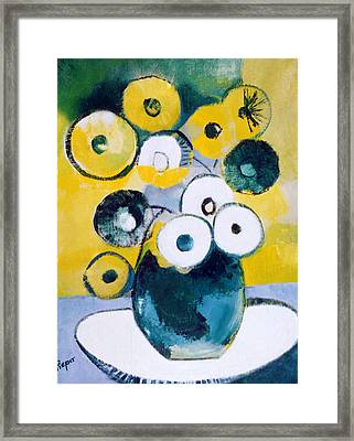 Green Jug With Round Flowers Framed Print