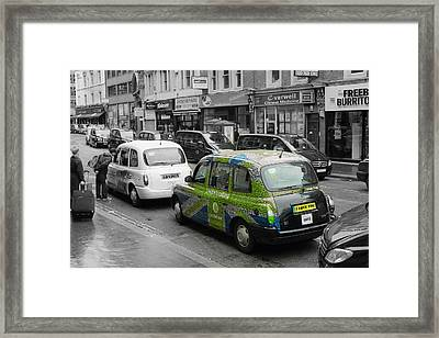 Green London Taxi Framed Print