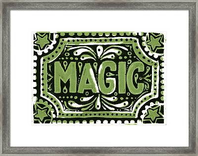 Framed Print featuring the painting Green Magic by Nada Meeks