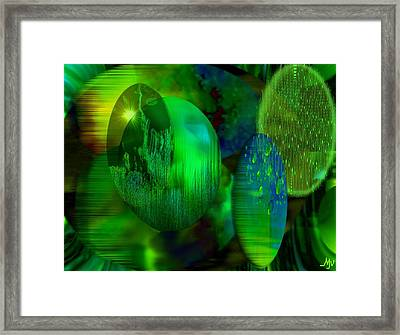 Green Ovals Framed Print by Mathilde Vhargon