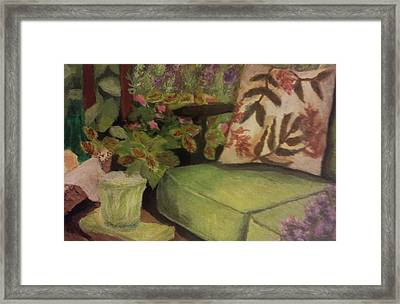 Framed Print featuring the painting Green Patio by Christy Saunders Church