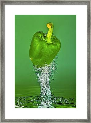 Green Pepper Splash Framed Print