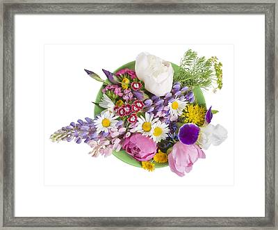 Framed Print featuring the photograph Green Plate With June Flowers by Aleksandr Volkov