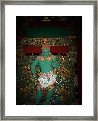 Green Sculpture Framed Print by Naxart Studio