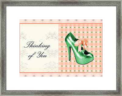 Green Shoe Thinking Of You Framed Print
