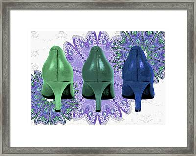 Green Shoes On Purple Lace Framed Print