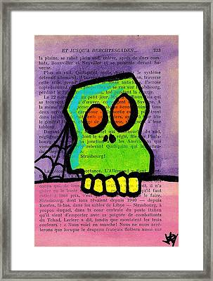 Green Skull Framed Print by Jera Sky
