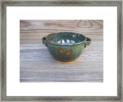 Green Soup Bowl Framed Print by Monika Hood
