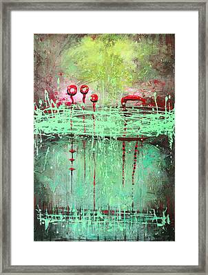 Framed Print featuring the painting Green Splashes by Lolita Bronzini