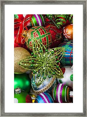 Green Star Christmas Ornament Framed Print by Garry Gay